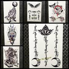 черный лотоса луна ислам временные татуировки наклейки мусульманская мечеть