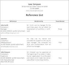 Templates For Reference List Resume Reference List Template How To List References On A Resume