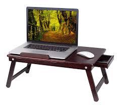 birdrock home bamboo laptop bed tray walnut multi position adjule knee desk pull down legs lap desk with storage drawer walnut co uk