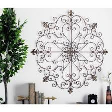 large vintage rustic decorative scroll wrought iron metal wall grille art plaque on retro outdoor metal wall art with large vintage rustic decorative scroll wrought iron metal wall
