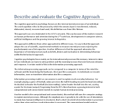 describe and evaluate the cognitive approach a level psychology  document image preview