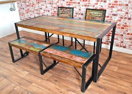 industrial dining table. Rustic Industrial Boat Wood Reclaimed Dining Set Table Uk Home Pictures
