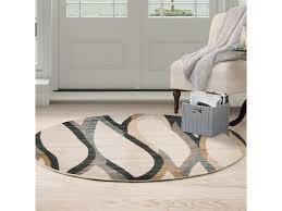 lavish home 62 g300b 5rd 5 ft round opus contemporary curves area rug cream