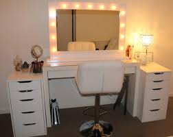 Bathroom. White Wooden Dresser Table With Lighted Mirror Plus White Swivel  And Adjustable Stool With
