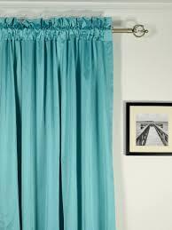 ... Waterfall Solid Blue Rod Pocket Faux Silk Curtains Heading Style  Waterfall Solid Blue Rod Pocket Faux Silk Curtains Heading Style ...