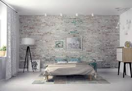 Bedroom:Modern Bedroom Design With Exposed Gray Brick Wall Ideas Wallpaper  Winsome Decorating White Effect