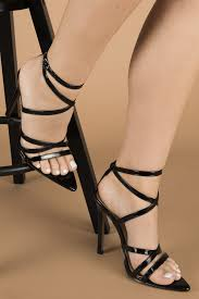 rukaya strappy point heels in black vegan patent leather