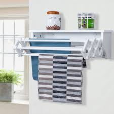 costway wall mounted drying rack folding clothes towel laundry room storage shelf white 0