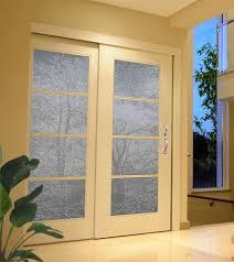 tree design sandblasted onto transpa opaque glass doors