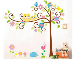 owl friends on the lovely tree children decal on childrens wall art uk with owl friends on the lovely tree children vinyl wall decals nursery