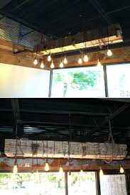 rustic industrial round chandelier barn wood beam o id lights