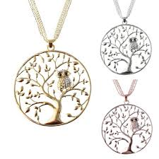 personalized rhinestone owl tree of life necklace silver gold rose gold sweater necklace fashion women jewelry newchic