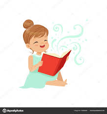 cute toddler sitting on the floor with open magic book cheerful children character reading fairy tales happy childhood concept cartoon flat vector