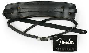 fender straps deluxe vintage leather black guitar strap