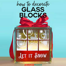 decorated glass blocks with lights and vinyl including a free design for a pretty snowy