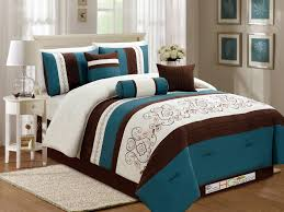 11 pc fl scroll damask embroidery piping comforter curtain set teal blue green brown ivory queen com