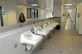 middle school bathroom. CRAIG T. KOJIMA / CKOJIMA@STARADVERTISER.COM In The Student Bathrooms, Sinks Are Outside, And There No Mirrors That Might Encourage Loitering. Middle School Bathroom