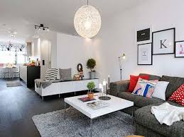 ... Small Living Room Furniture With Modern Lamp And Carpet And Wooden  Floor And Sofa ...