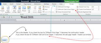 Ms Word Header Sections Headers And Footers Page Numbers Margins