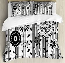 details about black and white king size duvet cover set funky blossoms with 2 pillow shams