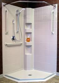 corner walk in shower inspirational corner shower with barrier free access and water stopper pre sloped