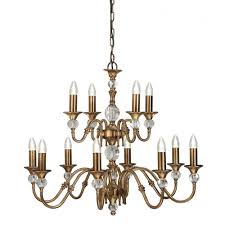 polina large 12 light classic antique brass chandelier with crystal detailing