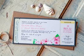 Wedding Invitation Tropical Boarding Pass With Hibiscus