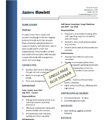Tradesman Resume Template Tradesman Resume Template Single Page Blue