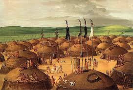 a native american village by george catlin 1827