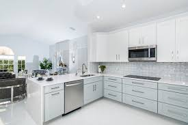Modern And Contemporary Kitchen Design With Two Tone Cabinets Gray