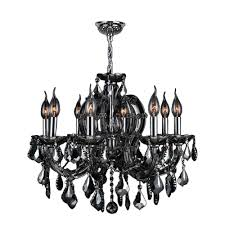 smoke crystal chandelier worldwide lighting catherine collection 8 light polished chrome with