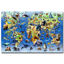 all animals in the world pictures.  The NICOLESHENTING Animals World Map  Science Educational Art Silk Fabric  Poster Print Nursery Wall Pictures Kids In All The N
