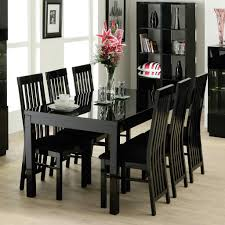 contemporary dining room design with dazzle high gloss black rectangular seater dining table black high