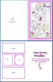Birthday Cards Templates Word Example Of Kids Card Birthday Princess