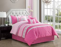 com modern 7 piece bedding hot pink light pink grey paisley embroidered embossed queen comforter set with accent pillows home kitchen