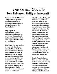 Sophia Grilla Tom Robinsons Trial News Story