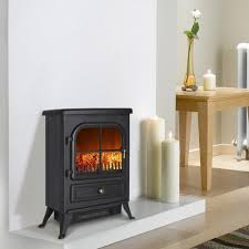 electric fireplace uk finether 1800w freestanding portable electric fireplace stove heater with openable door realistic flame and logs black 168 34