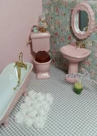 miniature doll furniture. miniature dollhouse furniture porcelain vintage pink bathroom 1 in scale doll i