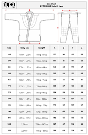 Size Chart Ippon Gear Judo Gi Hero Ippon Shop Com
