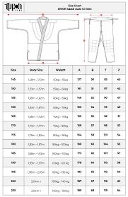 Judo Suit Size Chart Size Chart Ippon Gear Judo Gi Hero Ippon Shop Com
