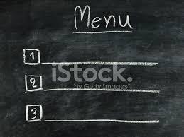 The Word Menu The Word Menu Written On Blackboard Stock Photos