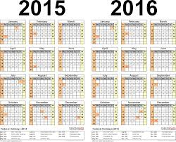 Template 3 Excel Template For Two Year Calendar 2015 2016