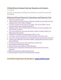Behavioral Based 15 Best Behavioral Based Interview Questions And Answers
