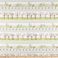 Fabric With Pictorial Design Clothworks Fair Isle Friends Pictorial Stripe Light Cream
