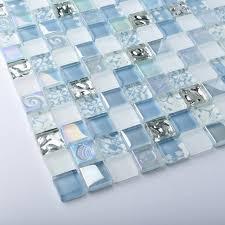 kitchen backsplash glass tile blue. TST Crystal Glass Tiles Blue Iridescent Mosaic Interior Crackle Bathroom Kitchen Backsplash Tile