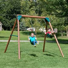 comfortable swingset for outdoor childrens play design brown wooden frame swingset with double swing for