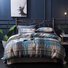 100 egyptian cotton brown blue green stripe plaid bedding sets queen king size silky soft duvet cover bed sheet set pillowcase blue and white duvet cover