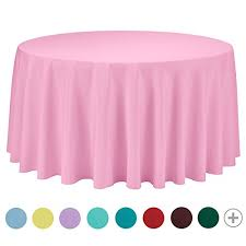 veeyoo 120 inch round solid polyester tablecloth for wedding restaurant party pink