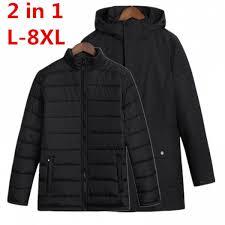 senarai harga 2018 plus size 8xl 7xl 6xl waterproof winter jacket men warm 2 in 1 parkas windproof detachable hood winter coat big large size terbaru di