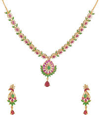 voylla drop design gold plated necklace set adorned with shiny cz and colored stones